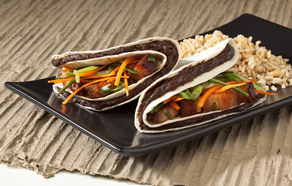 Asian Pork Belly Tacos with Chinese Black Beans