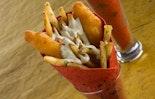 Fish & Garlic-Parm Chips Cone