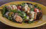 Tortilla-Breaded Spicy Wing Salad