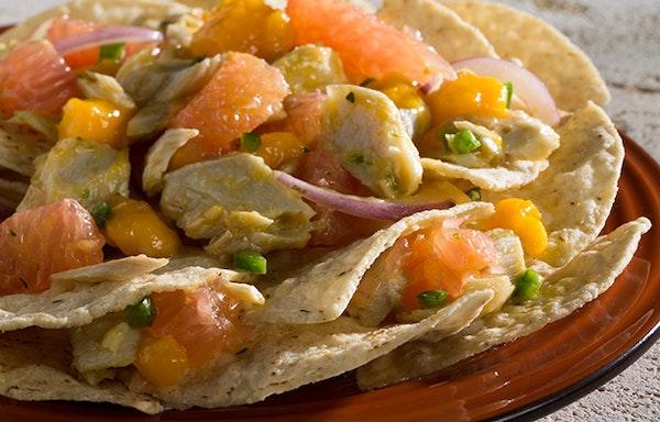 Caribbean King Fish Nachos with Fiery Mango Salsa