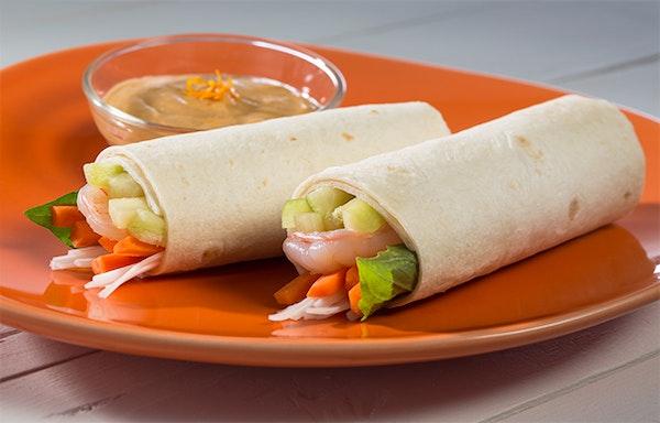 Tortilla Summer Rolls with Orange Peanut Sauce