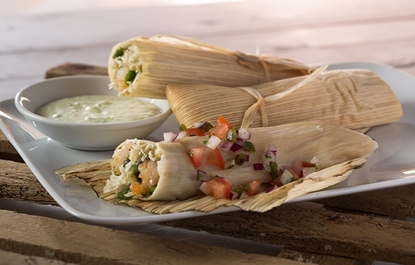 Seafood Tamales with Roasted Poblano Cream Sauce
