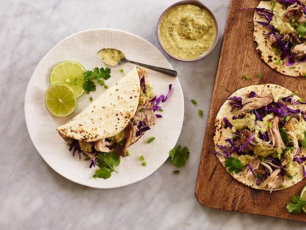 Pork Carnitas Tacos with Aji Verde Aioli